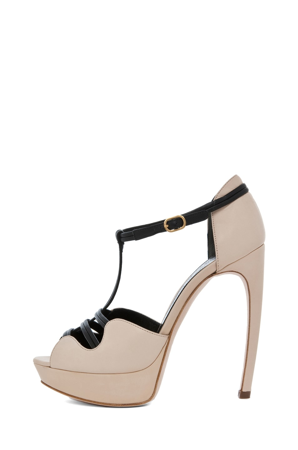 Image 1 of Alexander McQueen T Strap Heel in Blush & Black