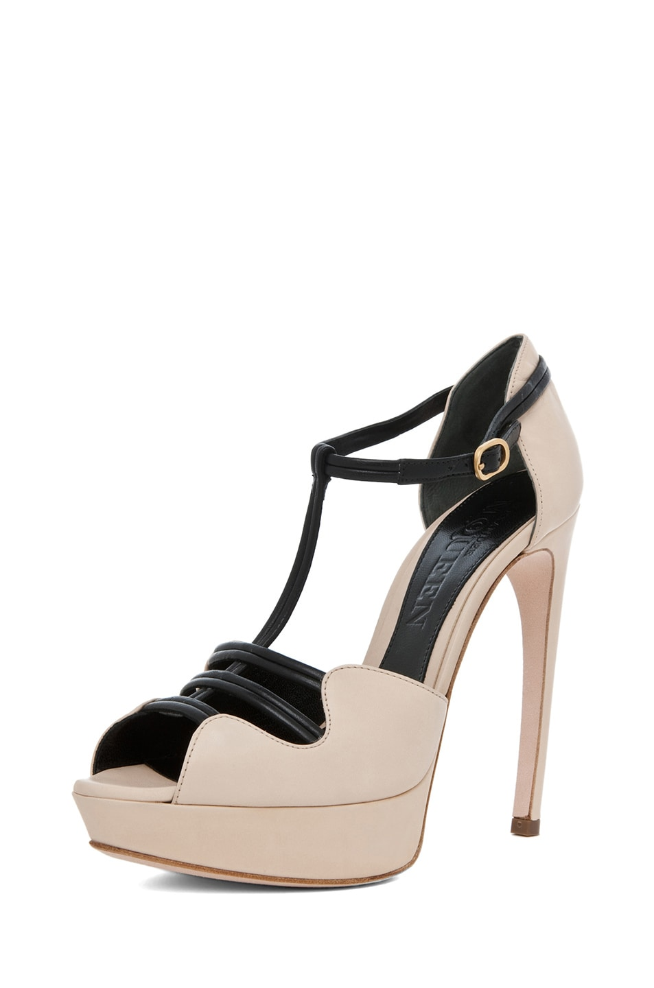 Image 2 of Alexander McQueen T Strap Heel in Blush & Black