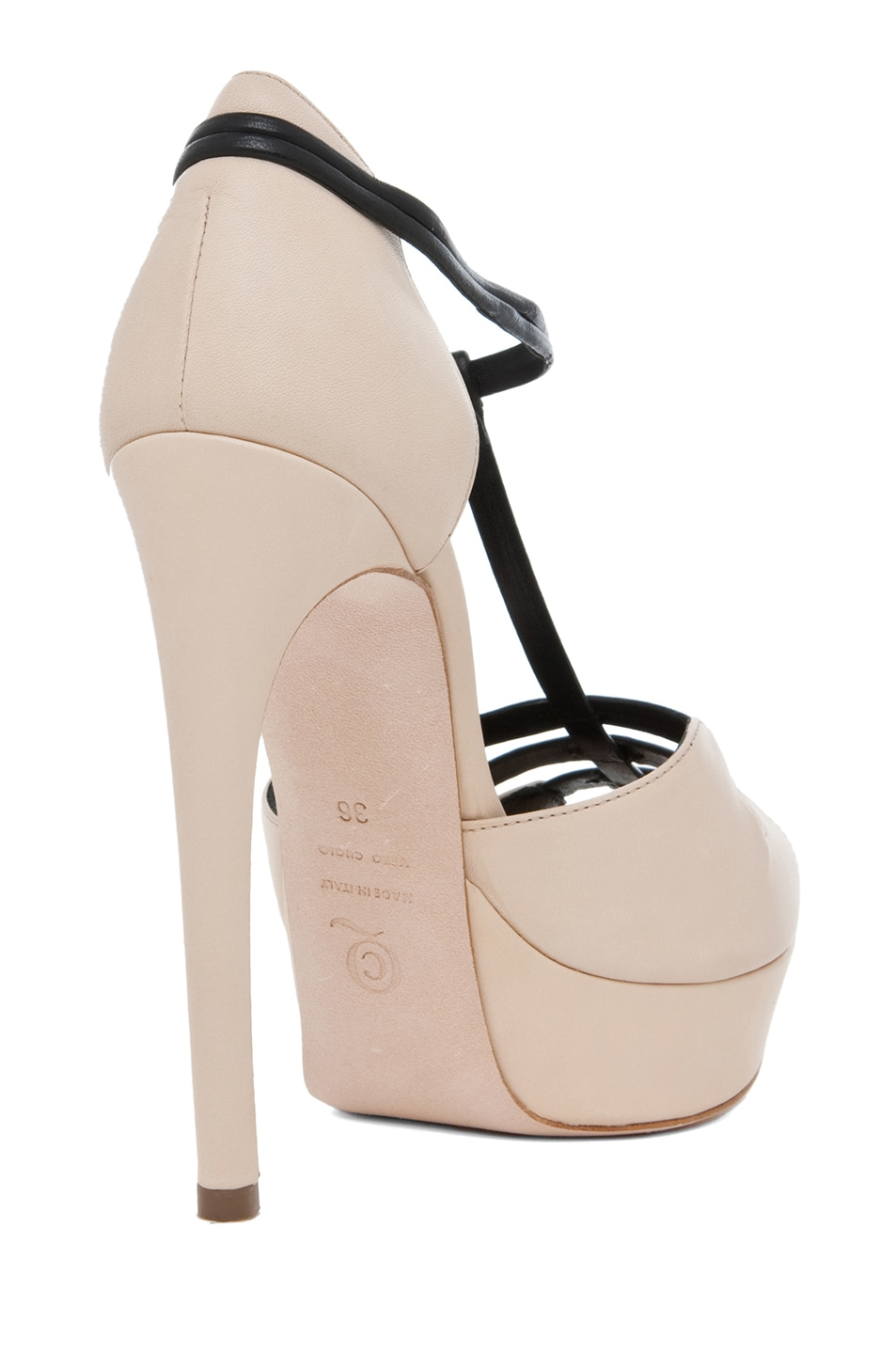 Image 3 of Alexander McQueen T Strap Heel in Blush & Black