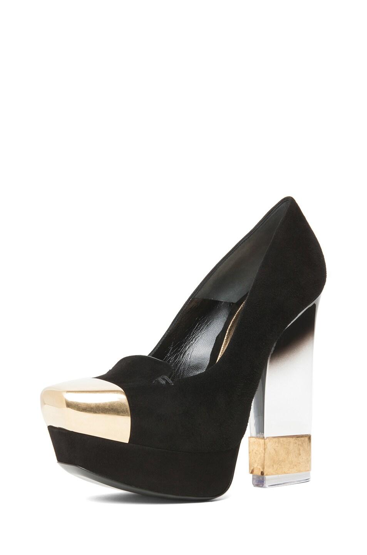 Image 2 of Alexander McQueen Suede Lucite Heel in Black