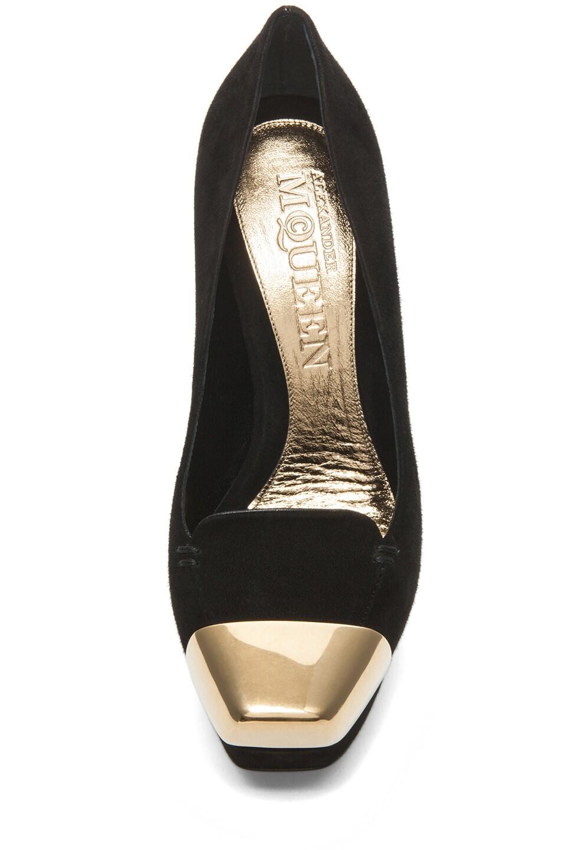 Image 4 of Alexander McQueen Suede Lucite Heel in Black