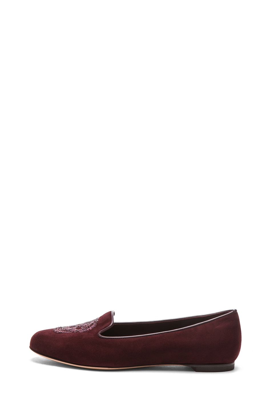 Image 1 of Alexander McQueen Skull Suede Slippers in Oxblood