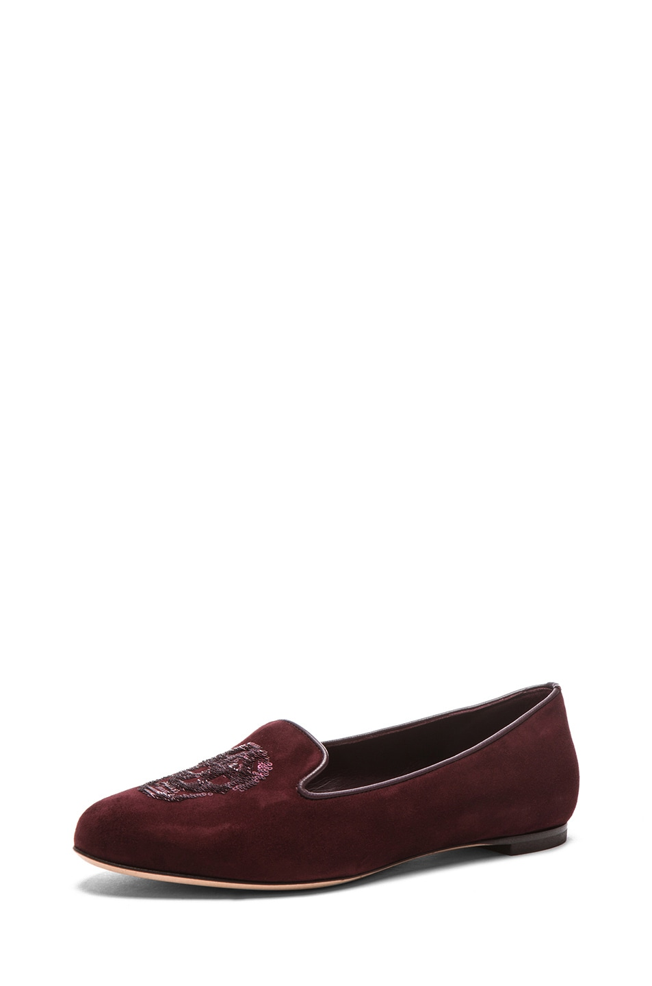 Image 2 of Alexander McQueen Skull Suede Slippers in Oxblood