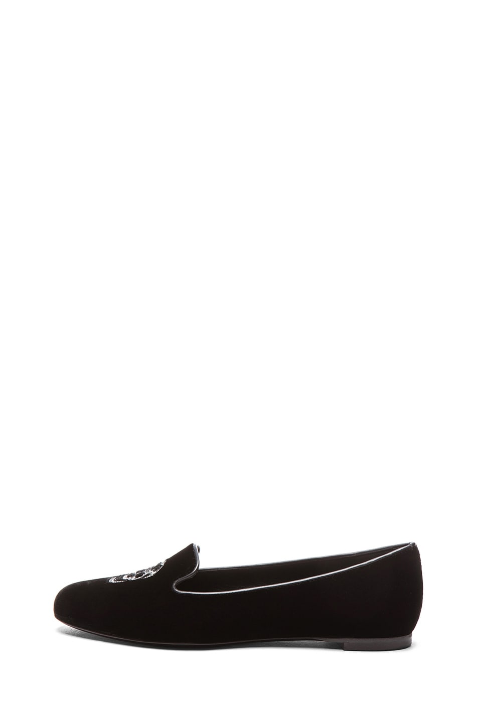 Image 1 of Alexander McQueen Hamlet Skull Velour Slippers in Black