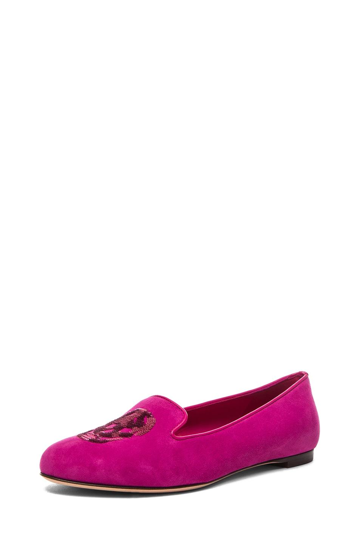 Image 2 of Alexander McQueen Skull Suede Slippers in Pink
