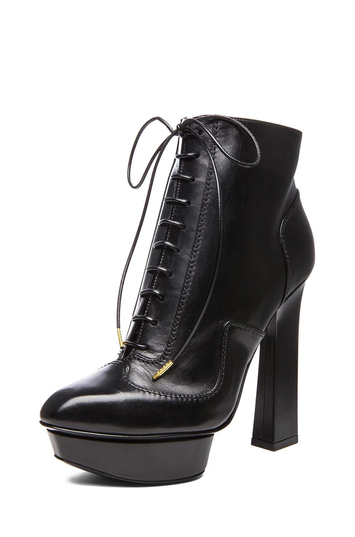 Image 2 of Alexander McQueen Victorian Geo Leather Booties in Black