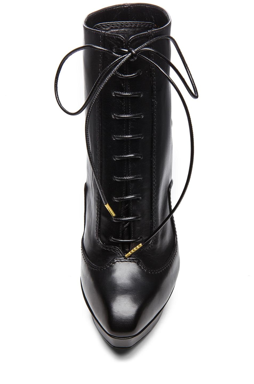 Image 4 of Alexander McQueen Victorian Geo Leather Booties in Black