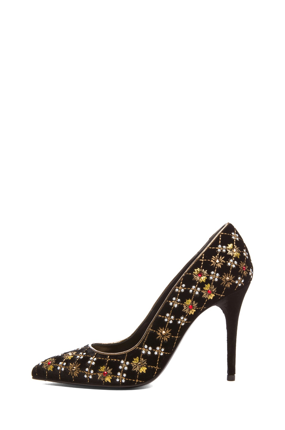 Image 1 of Alexander McQueen Pointy Embroidered Velvet Pumps in Black & Gold