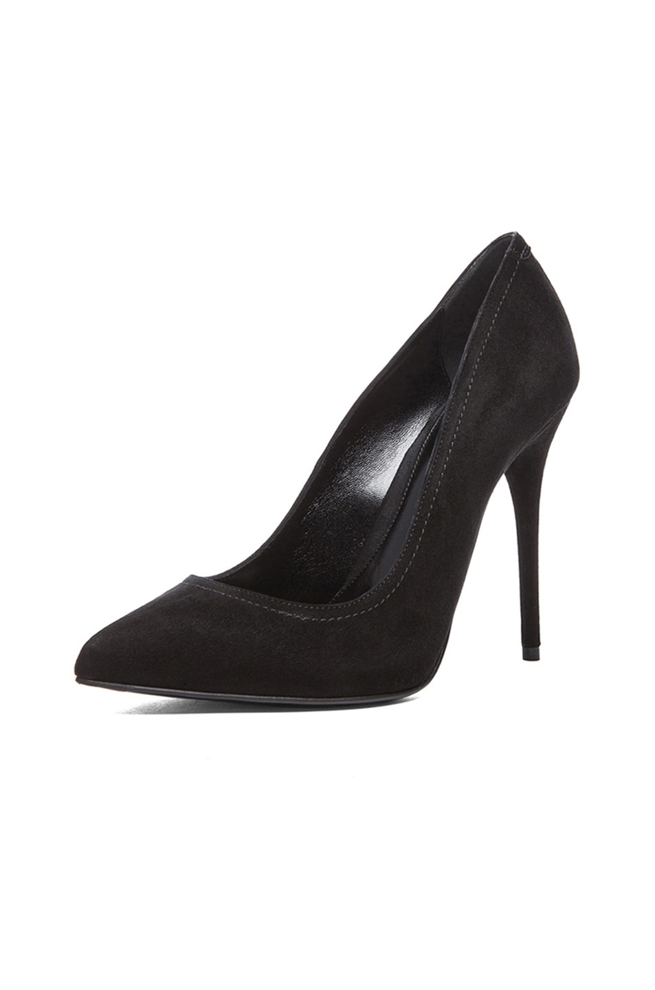 Image 2 of Alexander McQueen Pointy Suede Pumps in Black