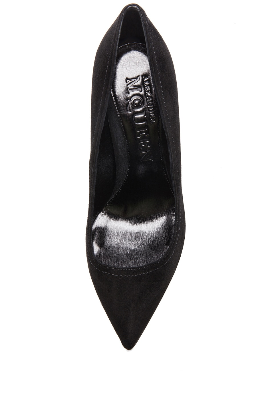 Image 4 of Alexander McQueen Pointy Suede Pumps in Black