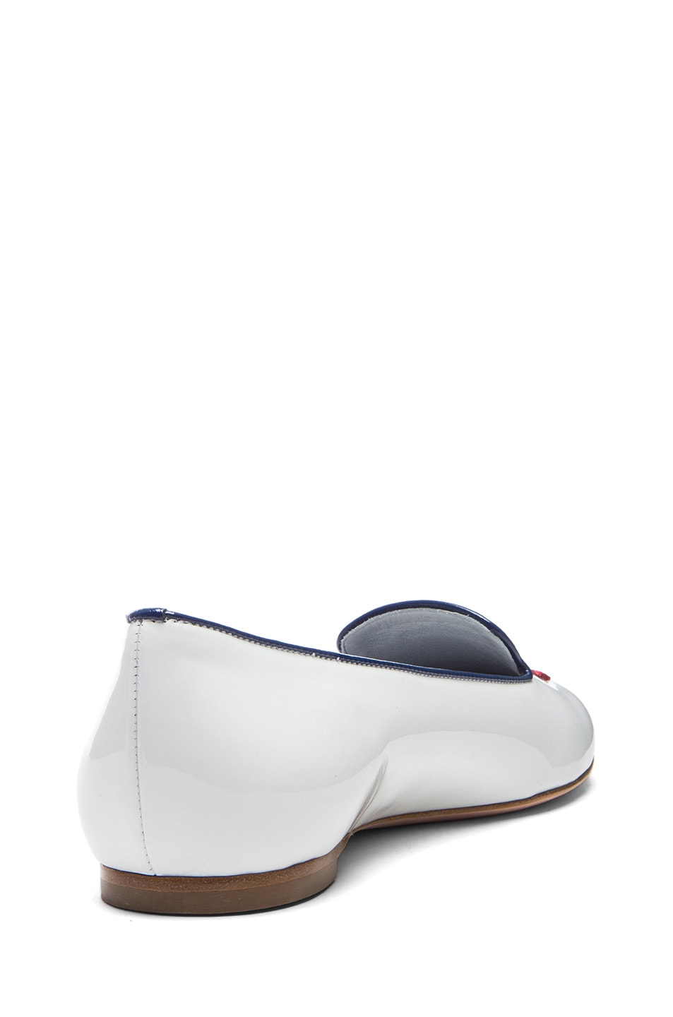 Image 3 of Alexander McQueen Skull Patent Leather Slippers in Patent White & New Blue