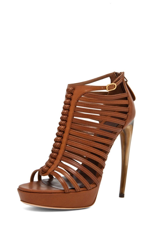 Image 2 of Alexander McQueen Strappy Sandal w/ Bone Heel in Hazelnut