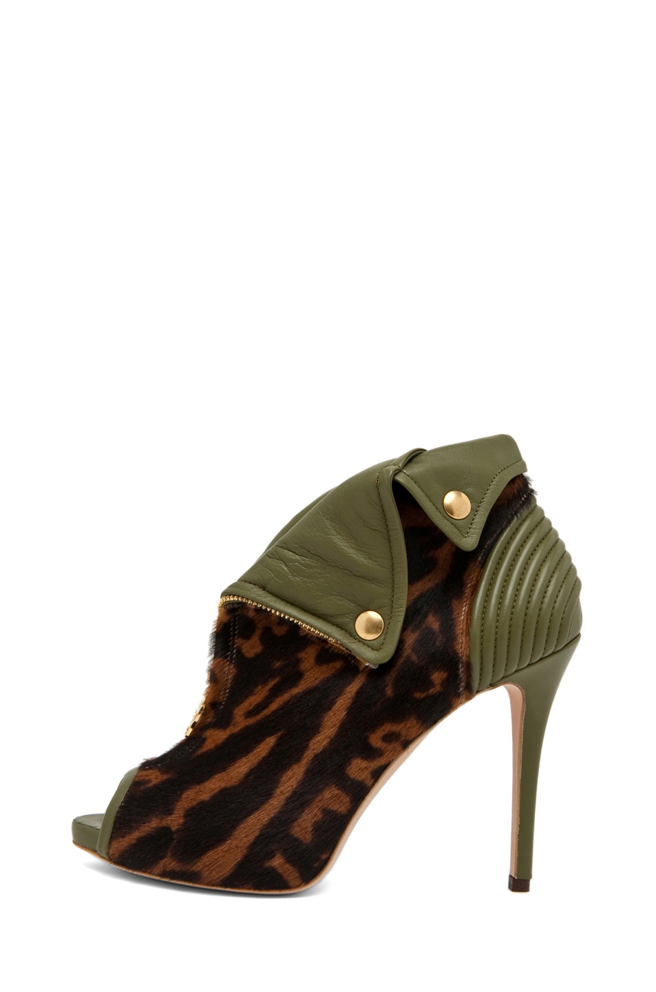 Image 1 of Alexander McQueen Zipper Bootie in Ocelot/Olive Green