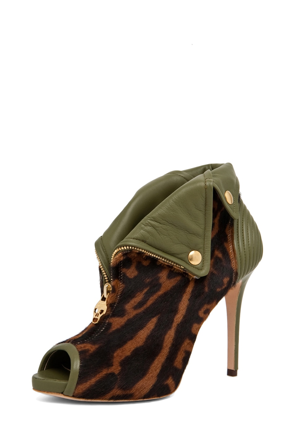 Image 2 of Alexander McQueen Zipper Bootie in Ocelot/Olive Green