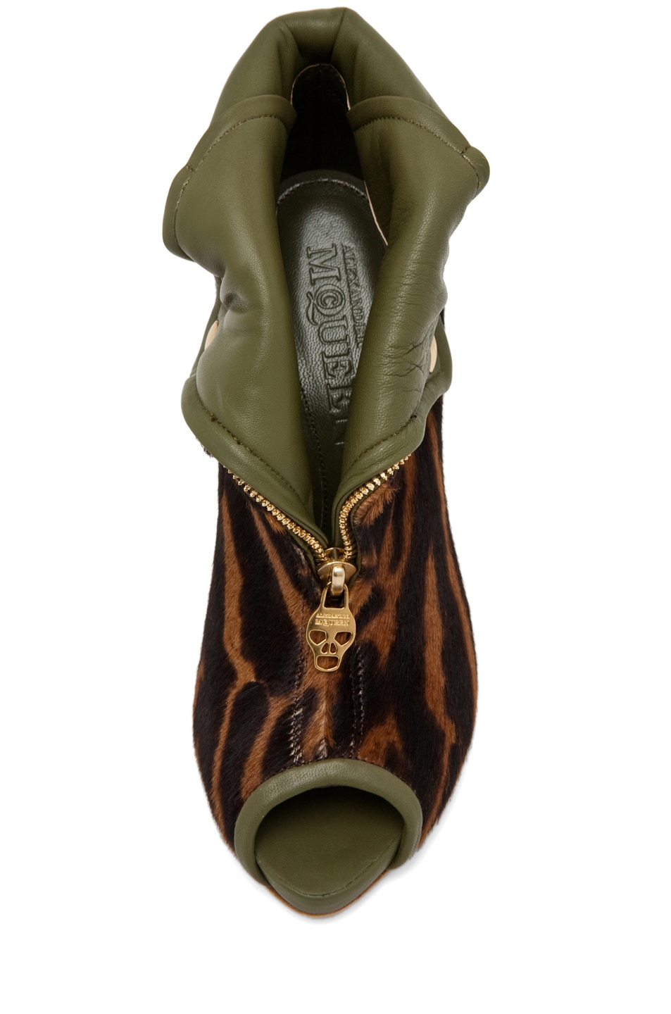 Image 4 of Alexander McQueen Zipper Bootie in Ocelot/Olive Green