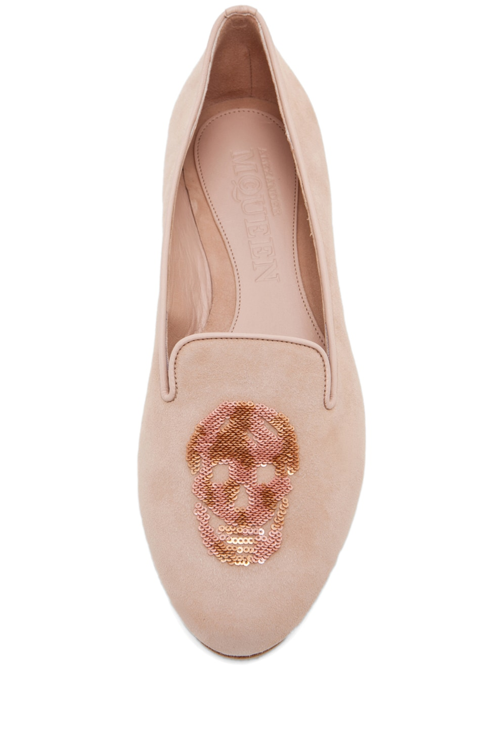 Image 4 of Alexander McQueen Skull Suede Slippers in Pale Pink & Rose