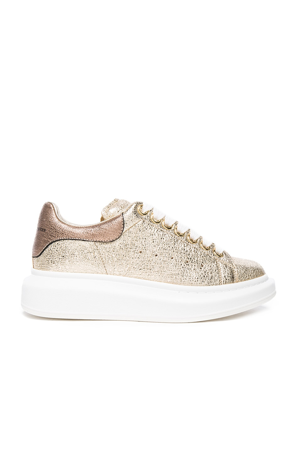 Image 1 of Alexander McQueen Leather Platform Sneakers in Gold & Boudoir
