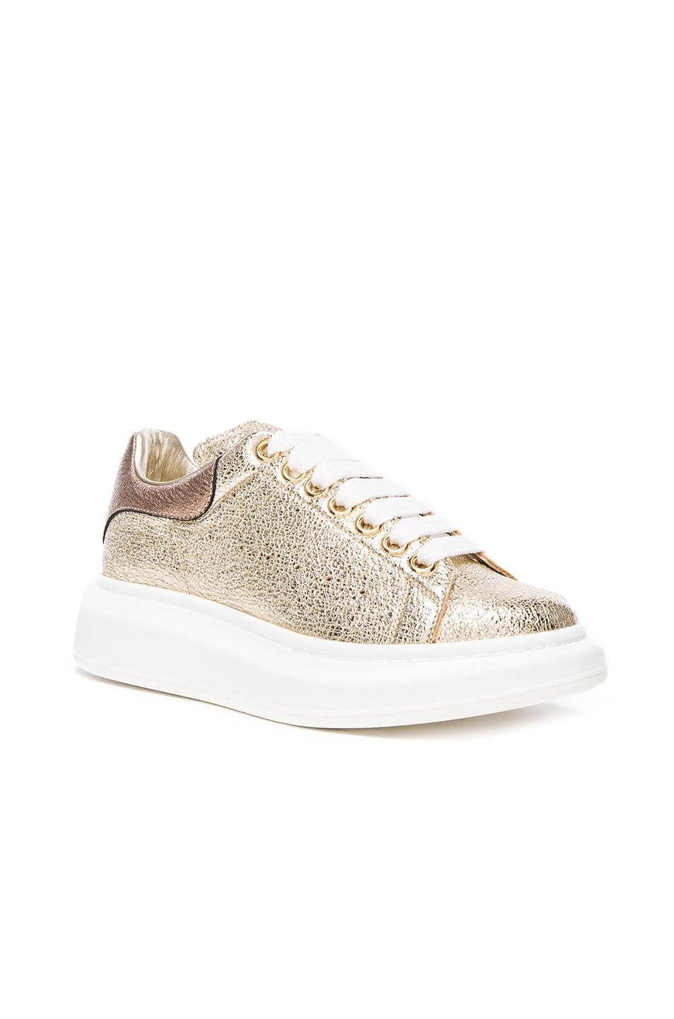 Image 2 of Alexander McQueen Leather Platform Sneakers in Gold & Boudoir