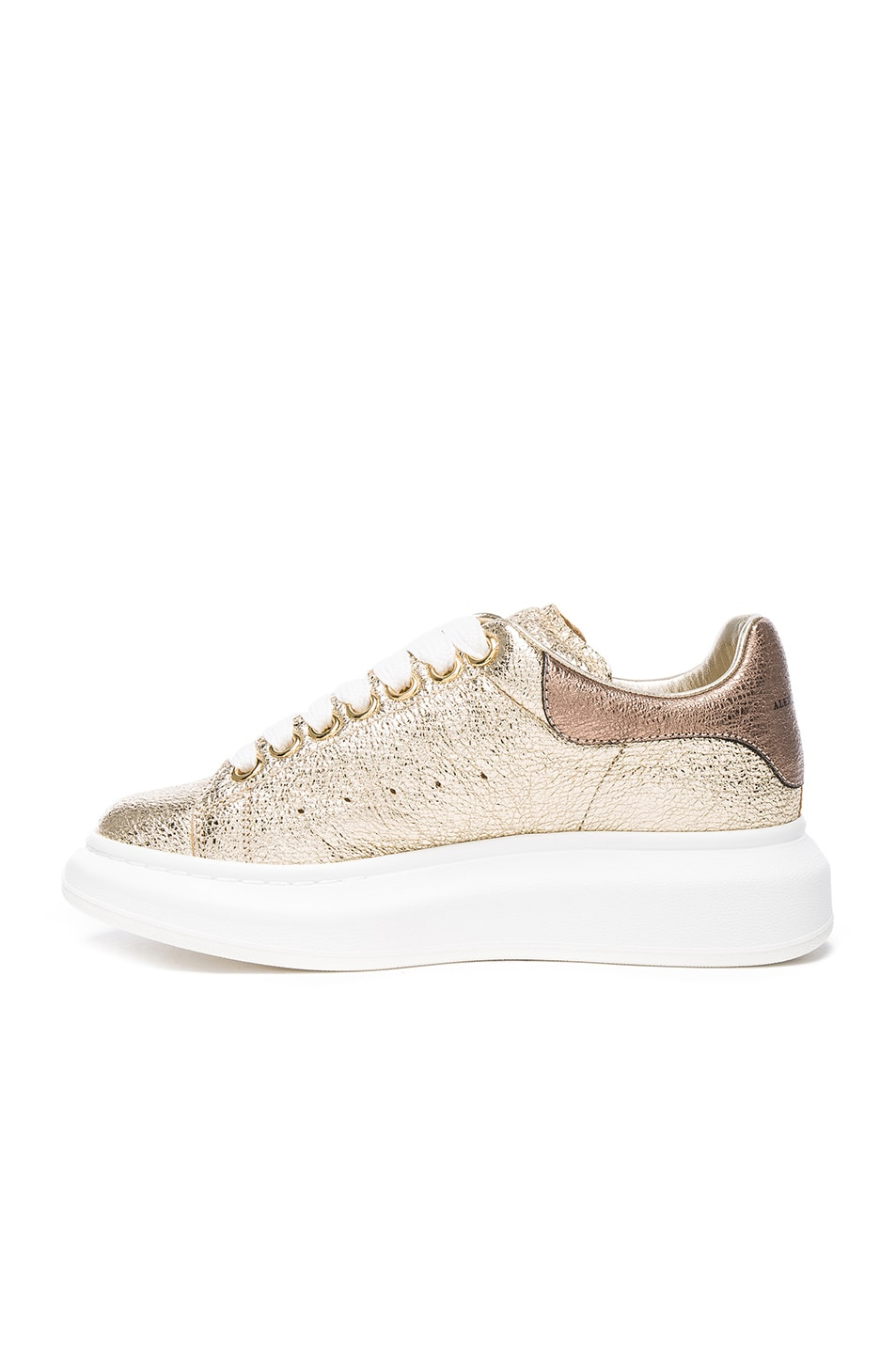 Image 5 of Alexander McQueen Leather Platform Sneakers in Gold & Boudoir