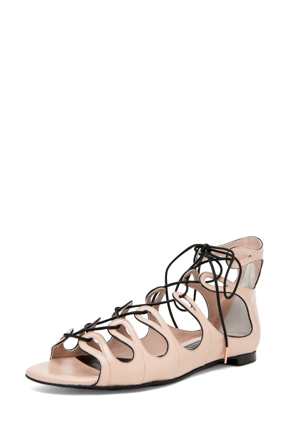 Image 2 of Alexander McQueen Lace Up Sandal in Saraband/Black