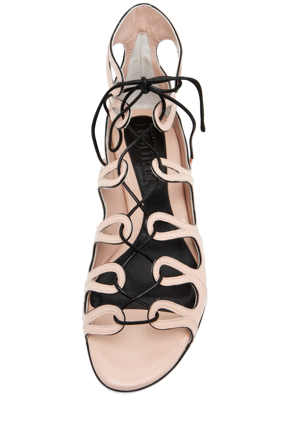Image 4 of Alexander McQueen Lace Up Sandal in Saraband/Black