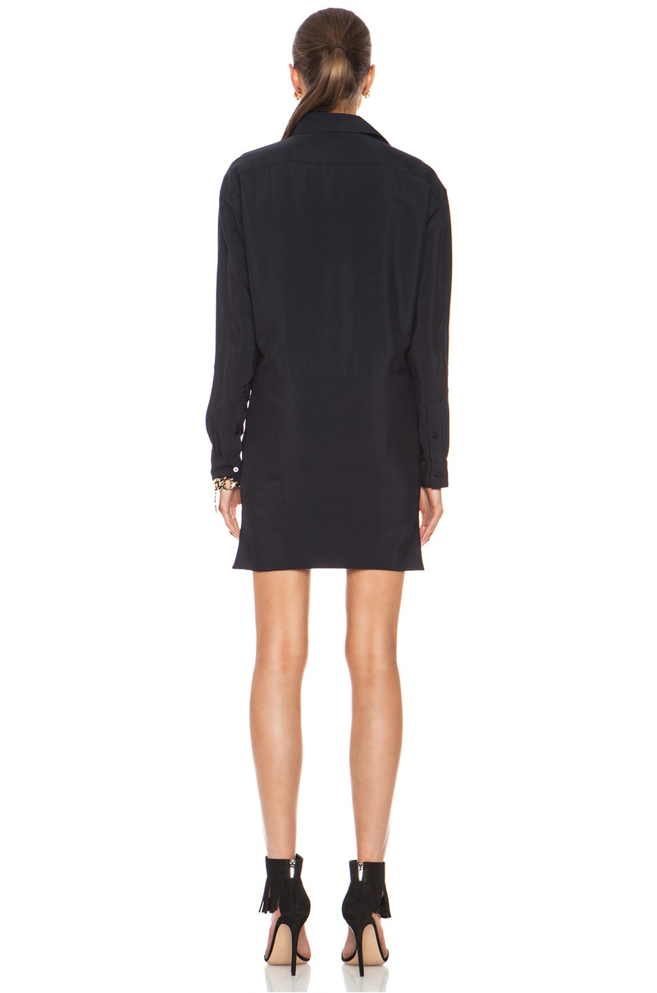Image 4 of Anthony Vaccarello Sharp Shirt Viscose Dress in Navy