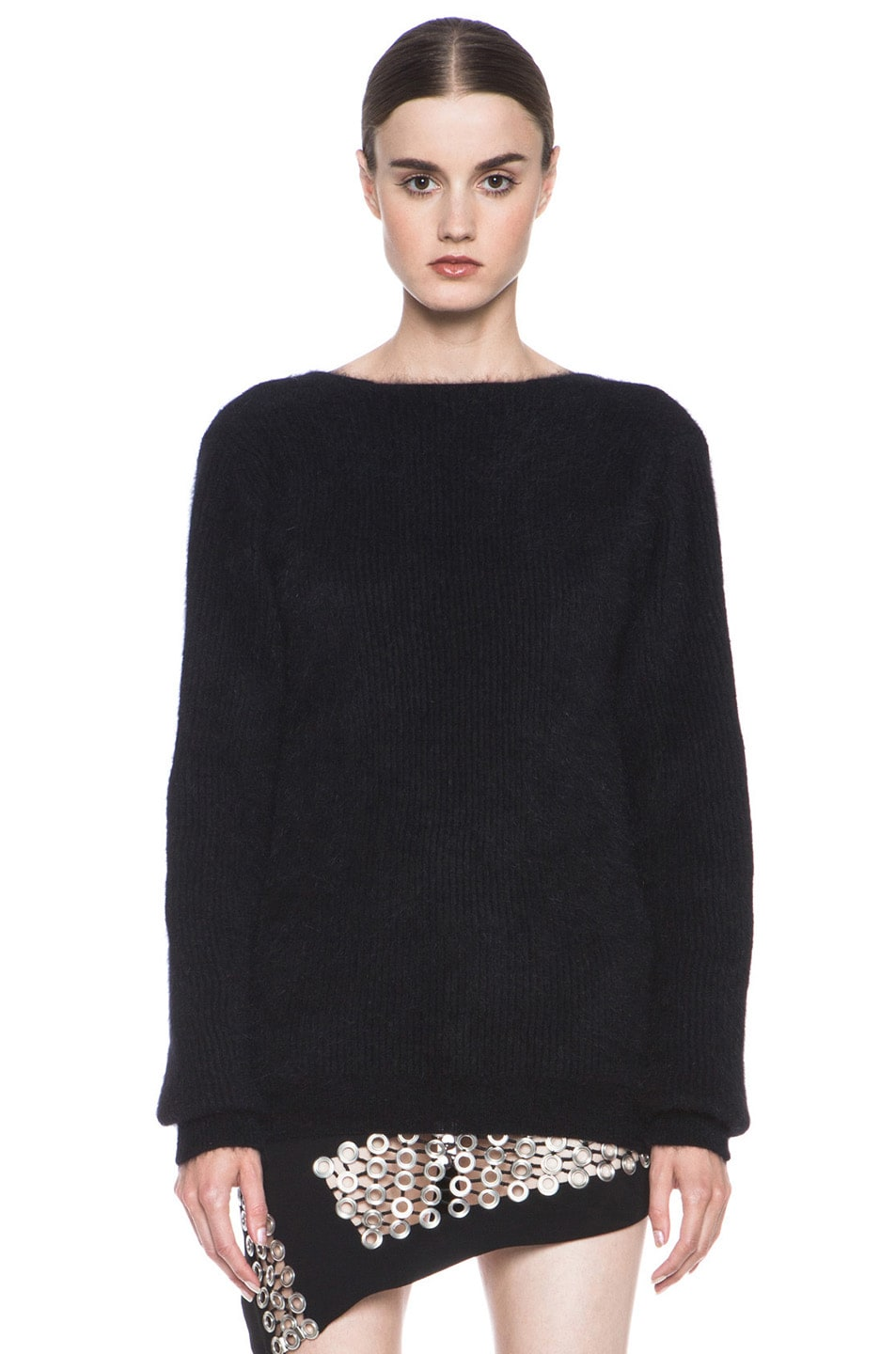 Image 1 of Anthony Vaccarello Back V Neck Angora Sweater in Black