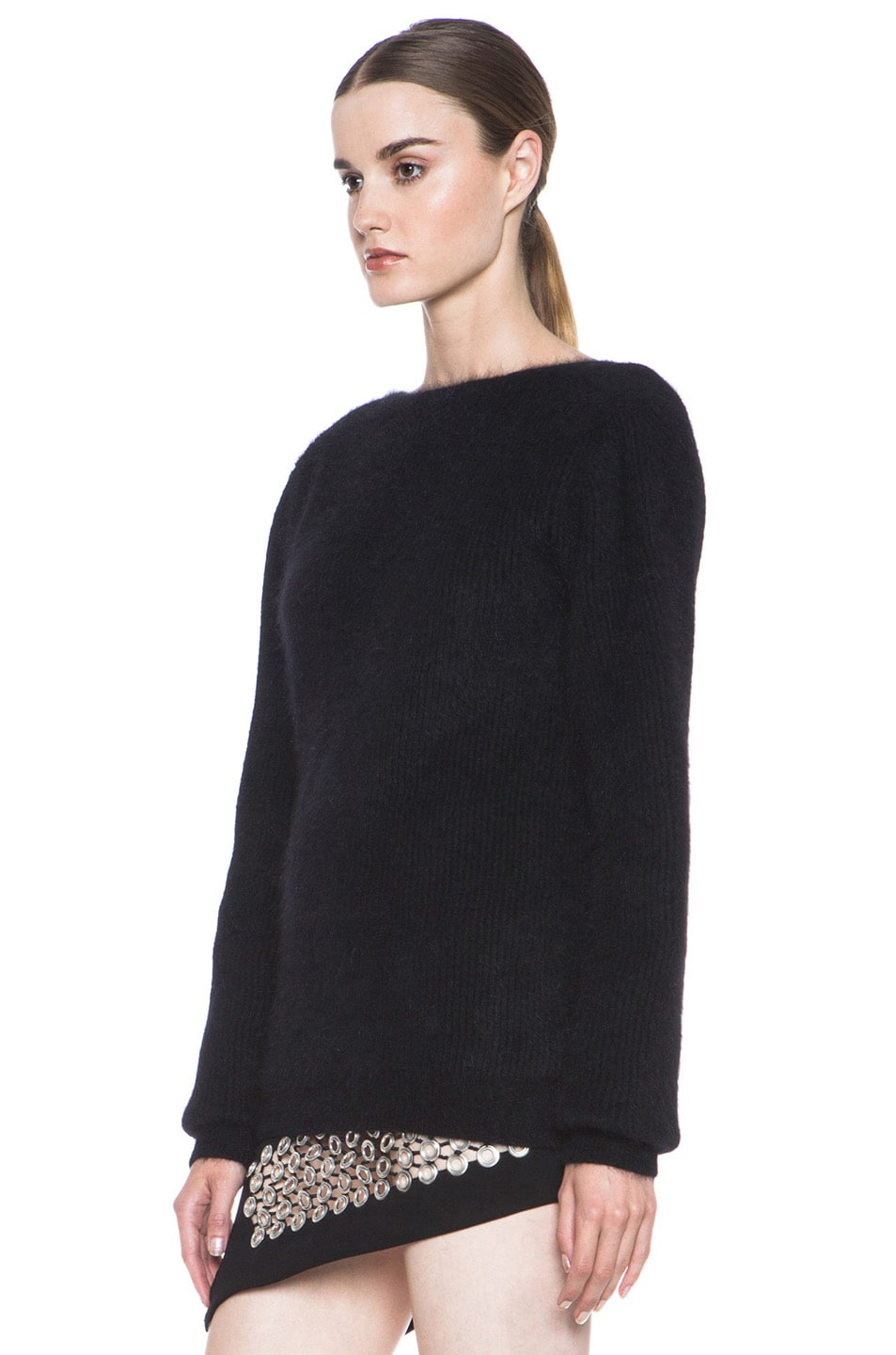Image 2 of Anthony Vaccarello Back V Neck Angora Sweater in Black
