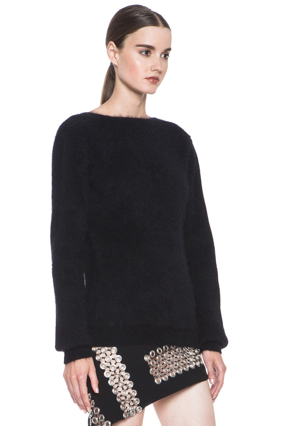 Image 3 of Anthony Vaccarello Back V Neck Angora Sweater in Black