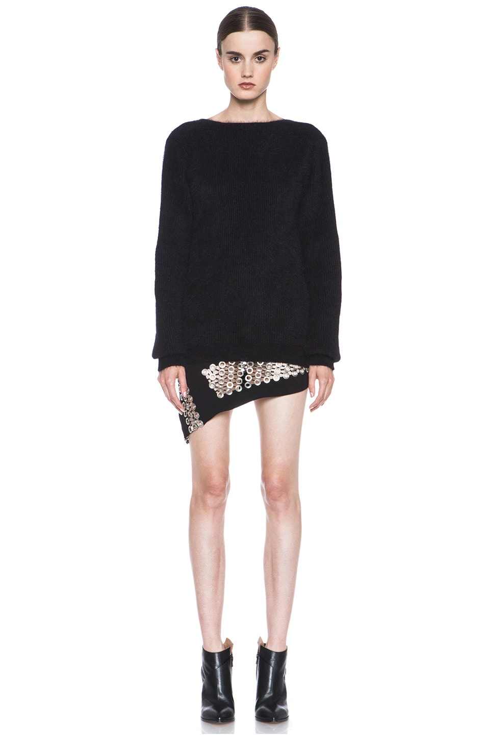 Image 5 of Anthony Vaccarello Back V Neck Angora Sweater in Black