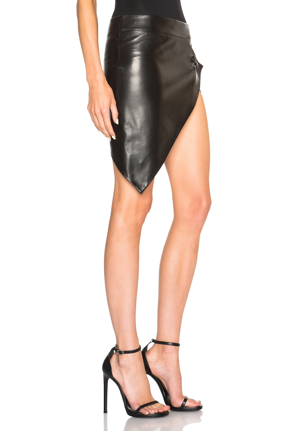 anthony vaccarello asymmetrical leather skirt in black fwrd