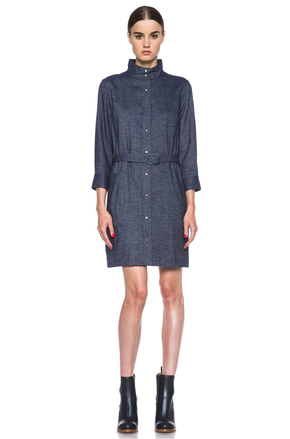 Image 1 of A.P.C. Flannel Belted Dress in Indigo