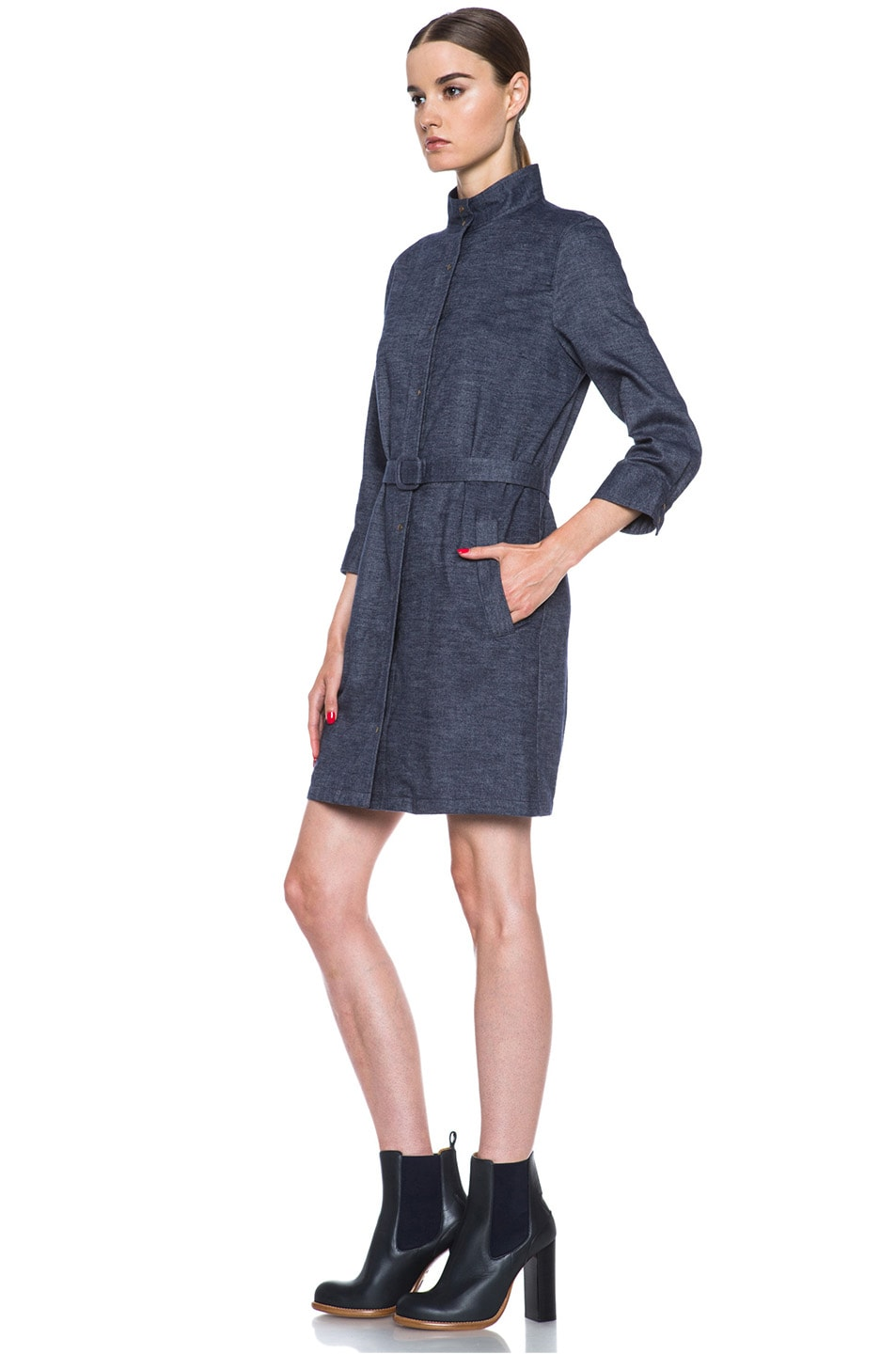 Image 2 of A.P.C. Flannel Belted Dress in Indigo