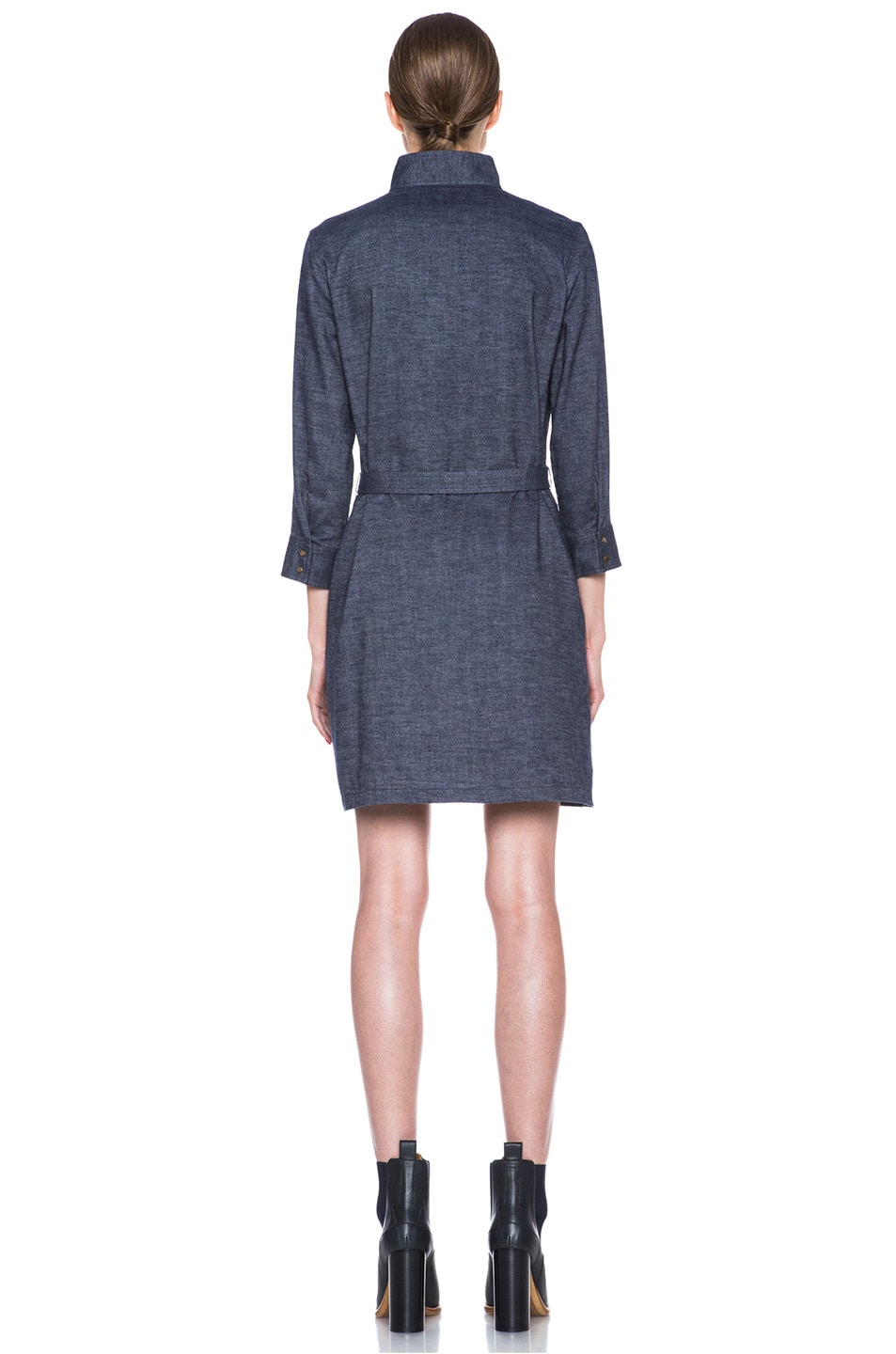 Image 4 of A.P.C. Flannel Belted Dress in Indigo