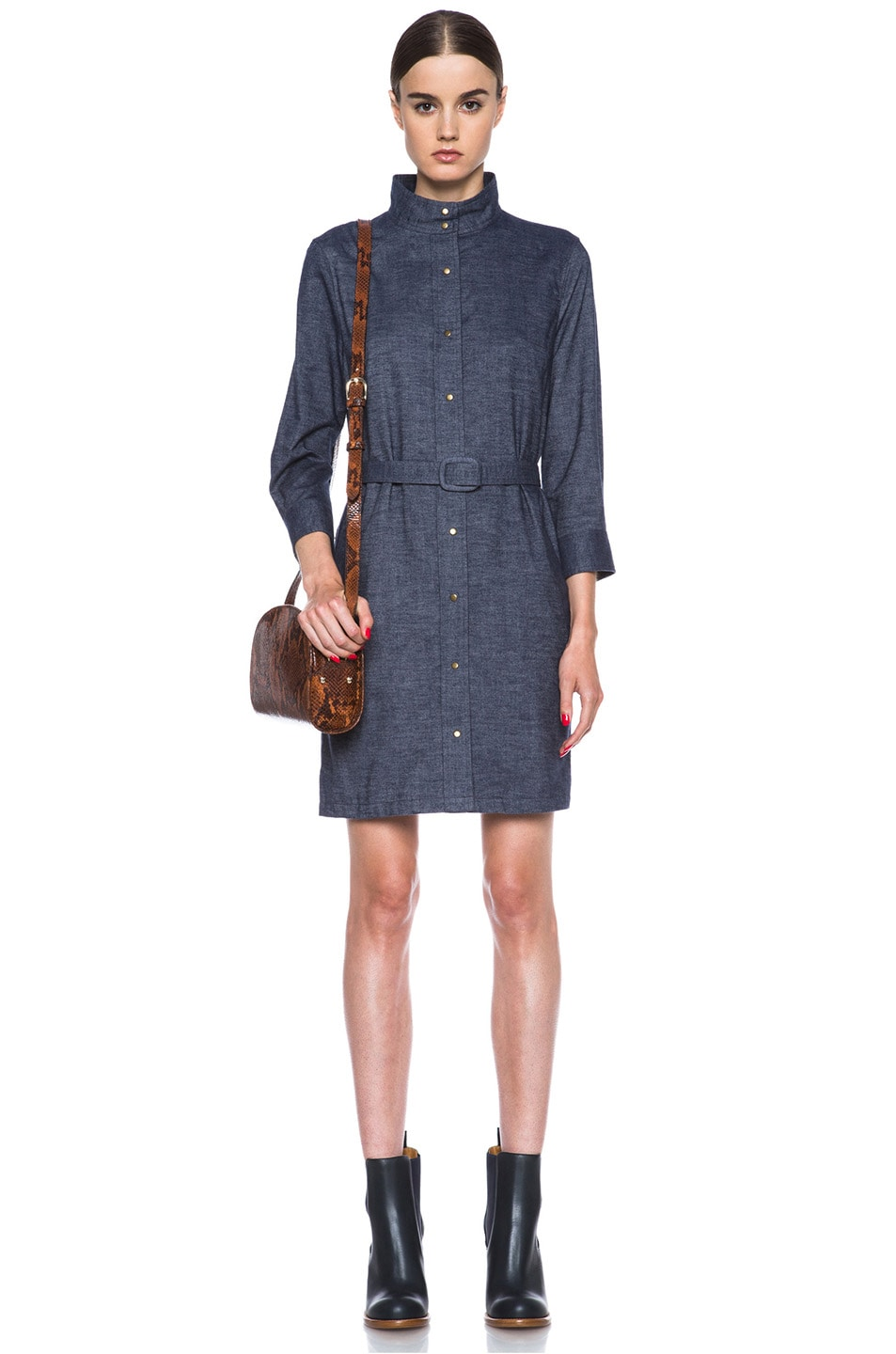 Image 5 of A.P.C. Flannel Belted Dress in Indigo