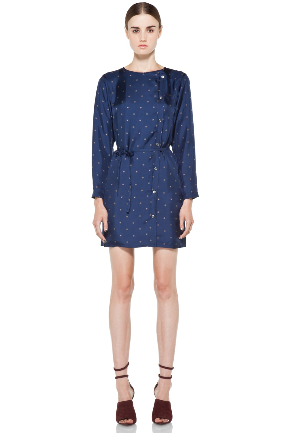 Image 1 of A.P.C. Twill de Soire Imprime Dress in Marine