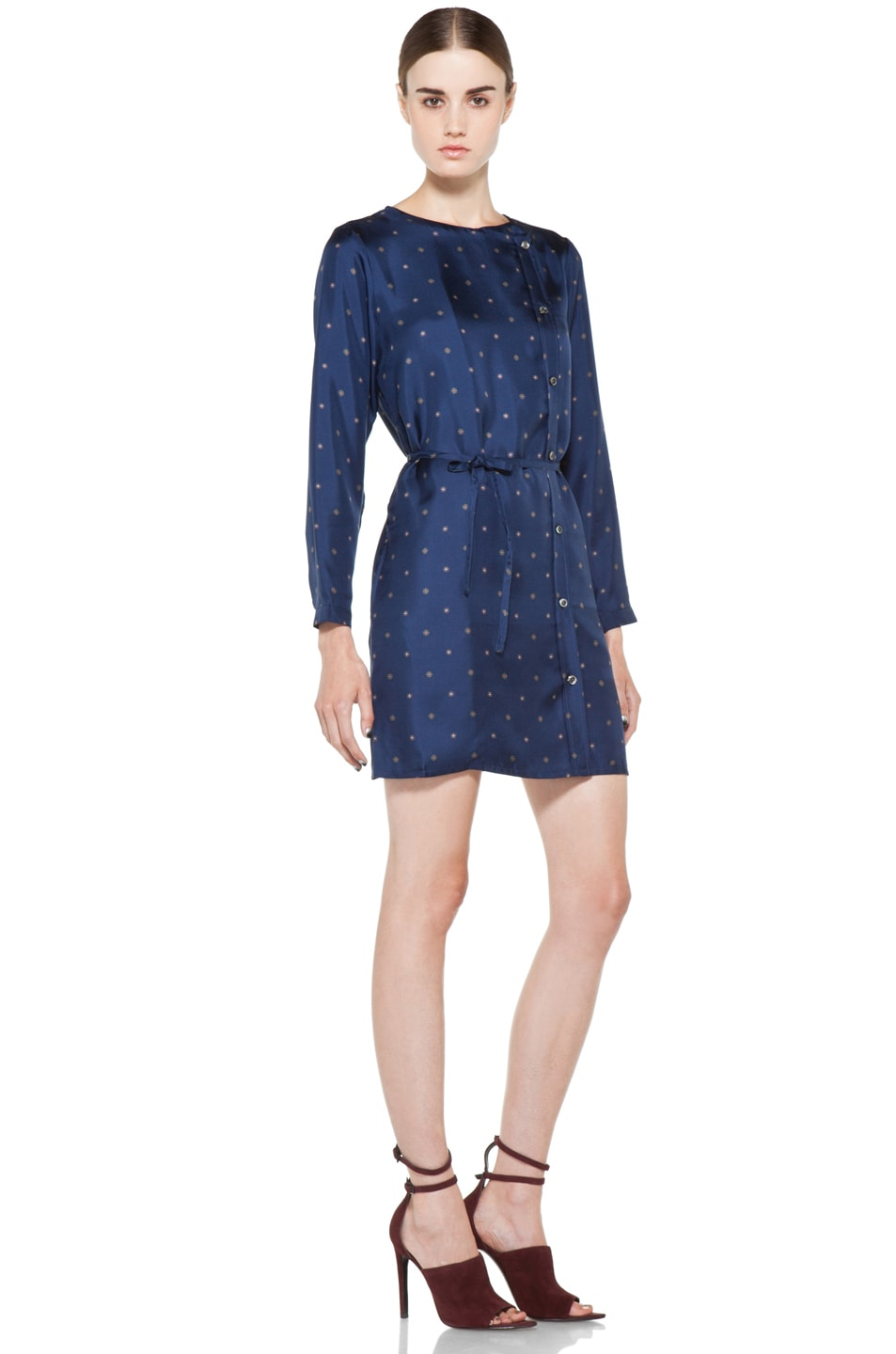 Image 3 of A.P.C. Twill de Soire Imprime Dress in Marine