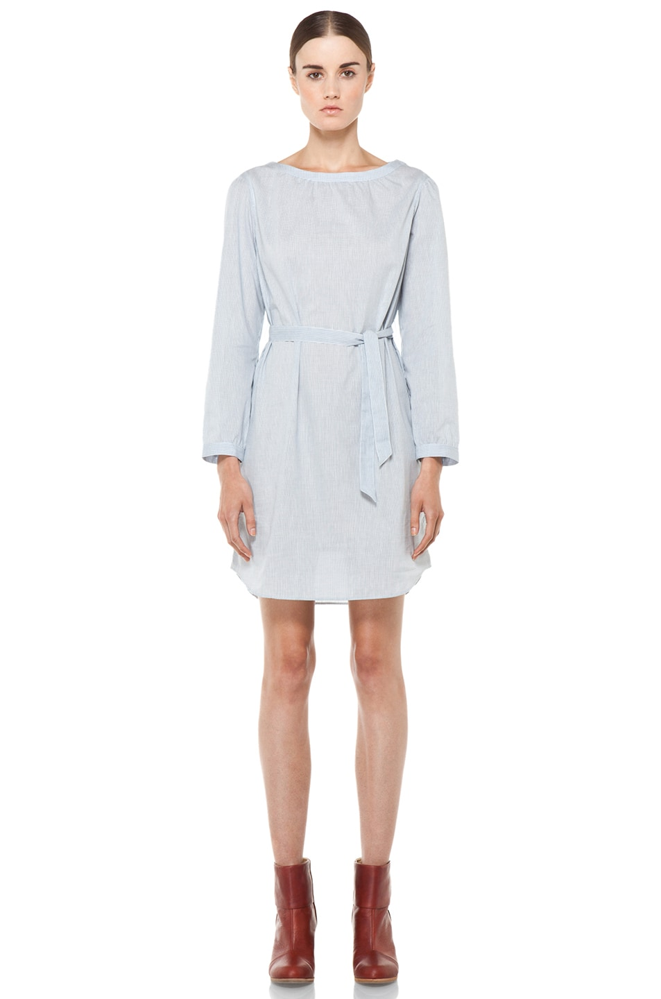 Image 1 of A.P.C. Carreaux Oxford Waist Tie Dress in Bleu Fonce