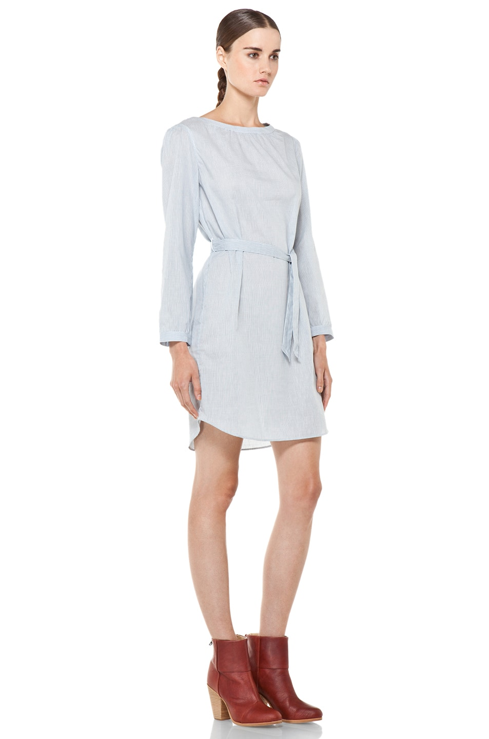Image 3 of A.P.C. Carreaux Oxford Waist Tie Dress in Bleu Fonce