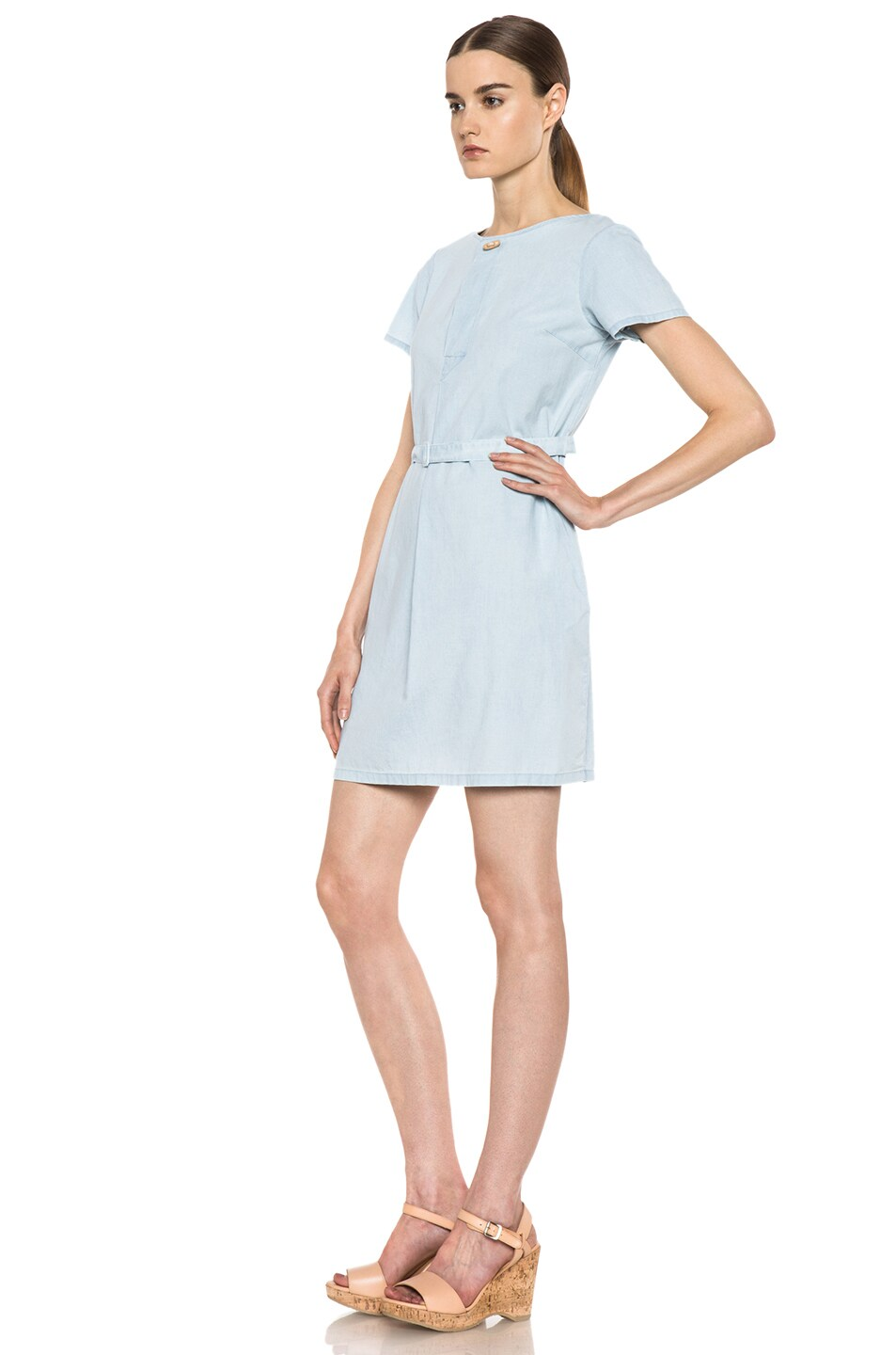 Image 2 of A.P.C. Chambray Dress in Bleu Ciel