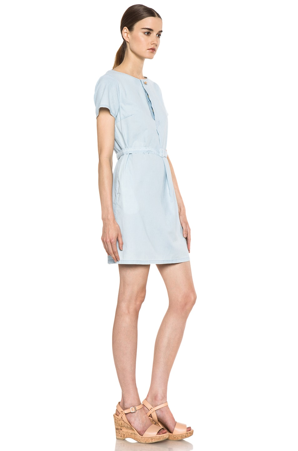 Image 3 of A.P.C. Chambray Dress in Bleu Ciel