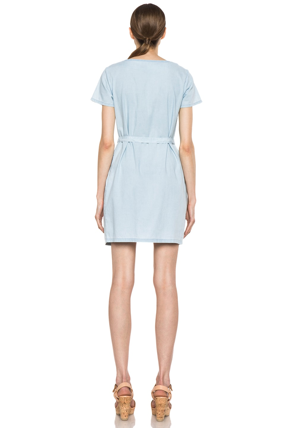 Image 4 of A.P.C. Chambray Dress in Bleu Ciel
