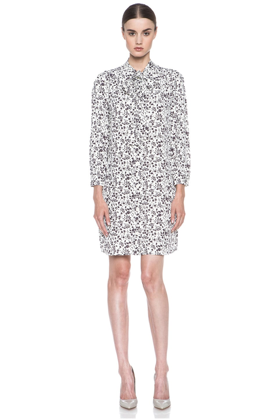 Image 1 of A.P.C. Viscose-Blend Tie-Neck Printed Dress in Ecru