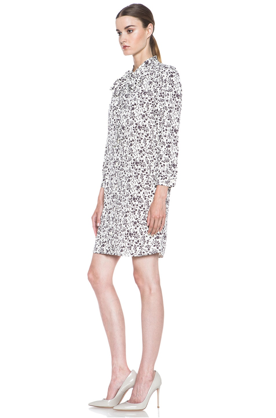 Image 2 of A.P.C. Viscose-Blend Tie-Neck Printed Dress in Ecru