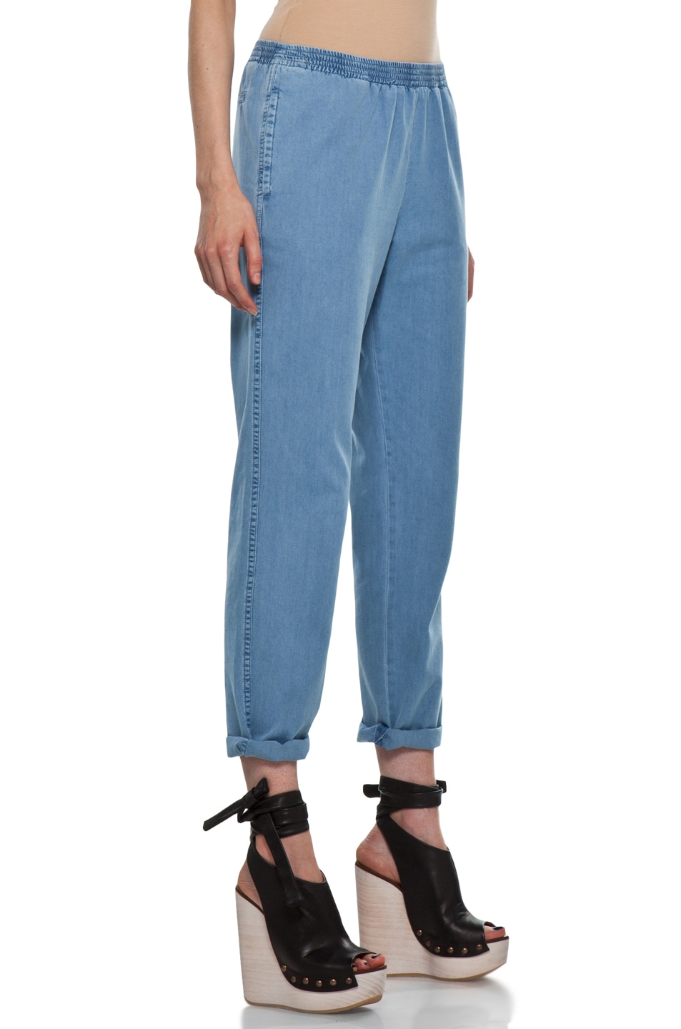Image 3 of A.P.C. Elastic Waist Pant in Blue Grey