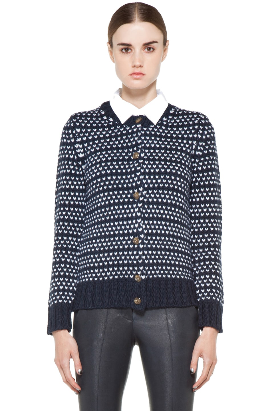 Image 1 of A.P.C. Laine Epaisse Jacquard Heart Cardigan in Dark Navy