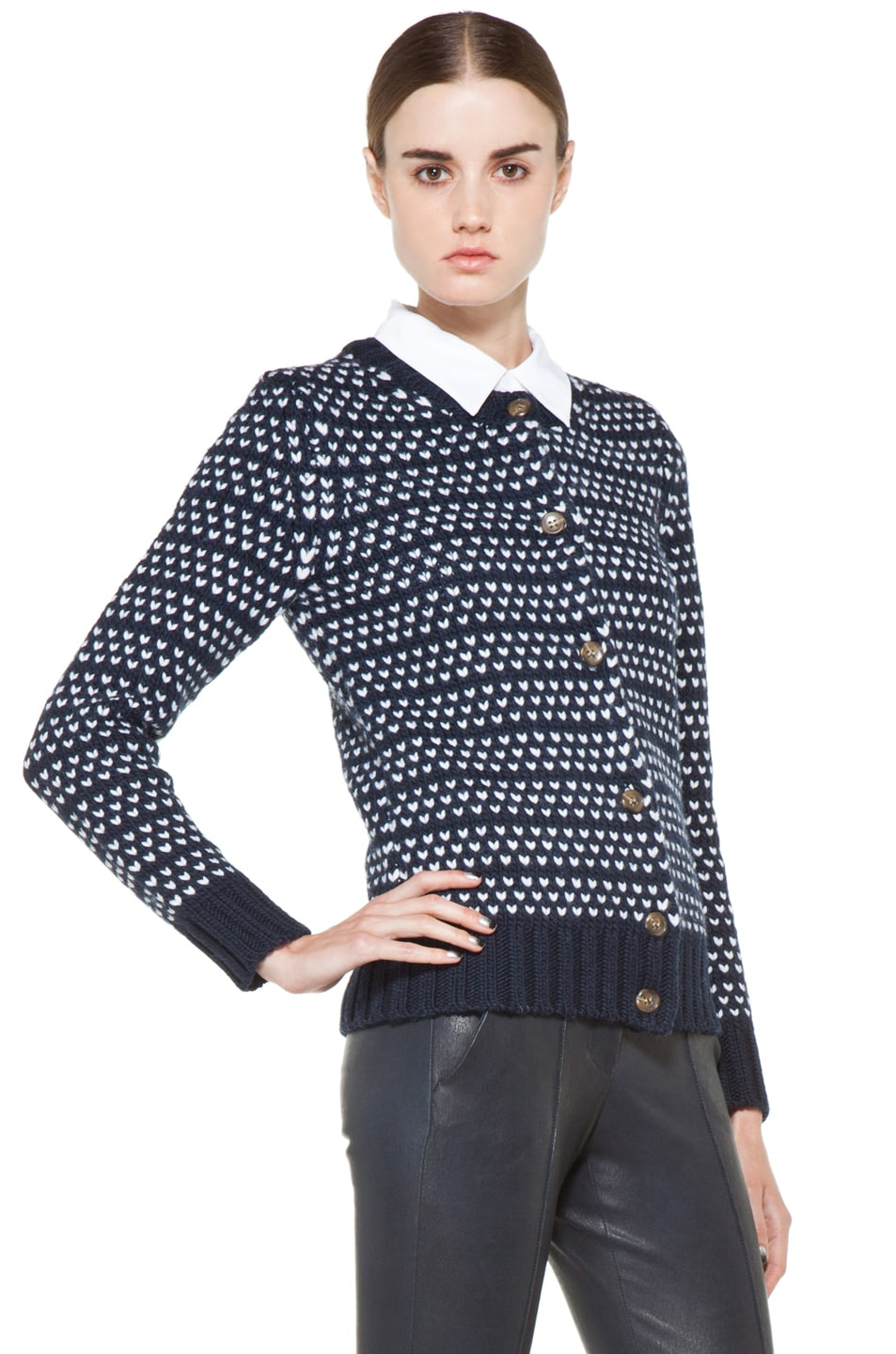 Image 3 of A.P.C. Laine Epaisse Jacquard Heart Cardigan in Dark Navy