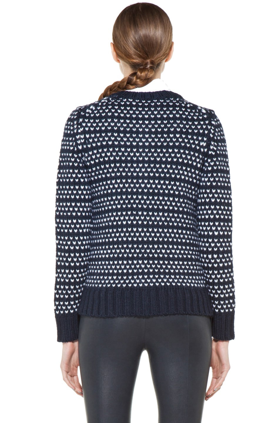 Image 4 of A.P.C. Laine Epaisse Jacquard Heart Cardigan in Dark Navy