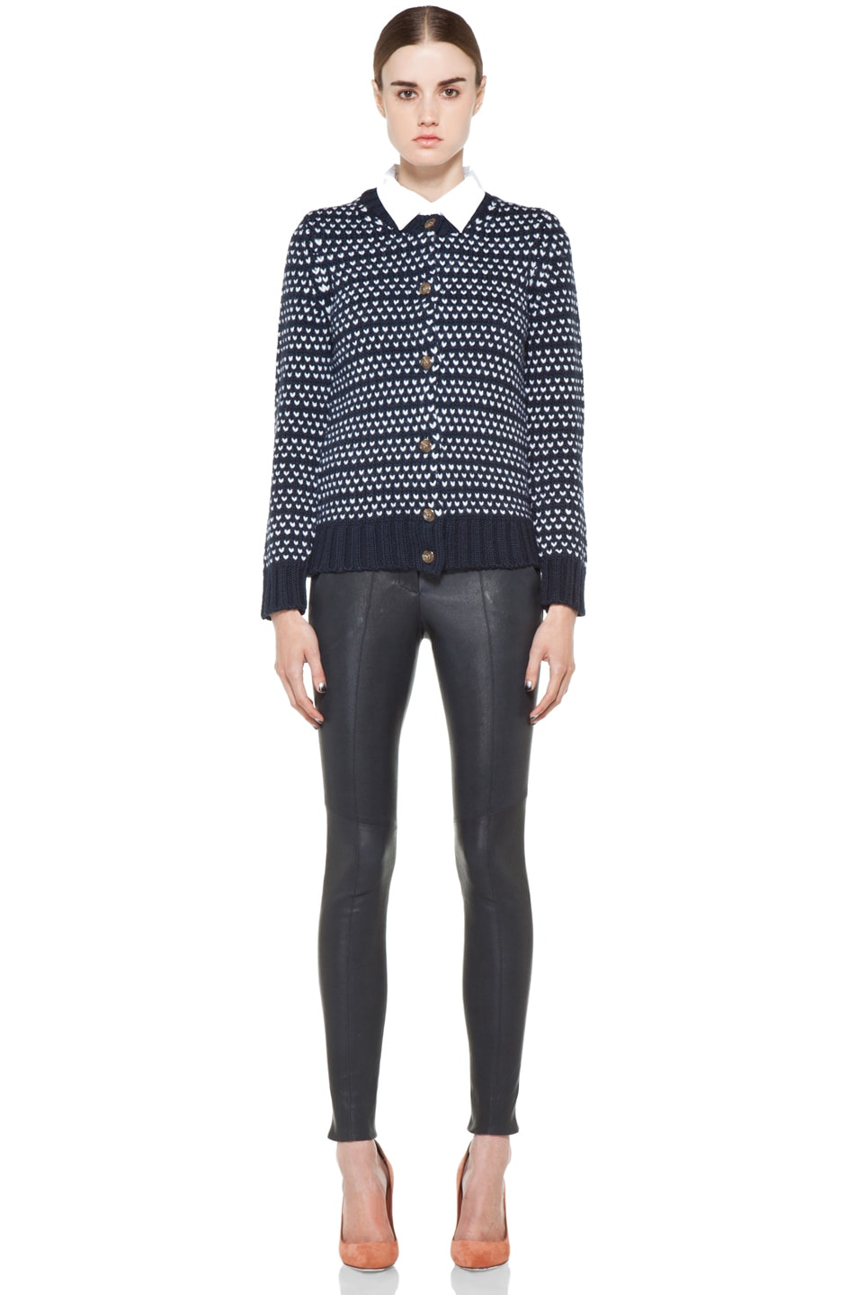 Image 5 of A.P.C. Laine Epaisse Jacquard Heart Cardigan in Dark Navy