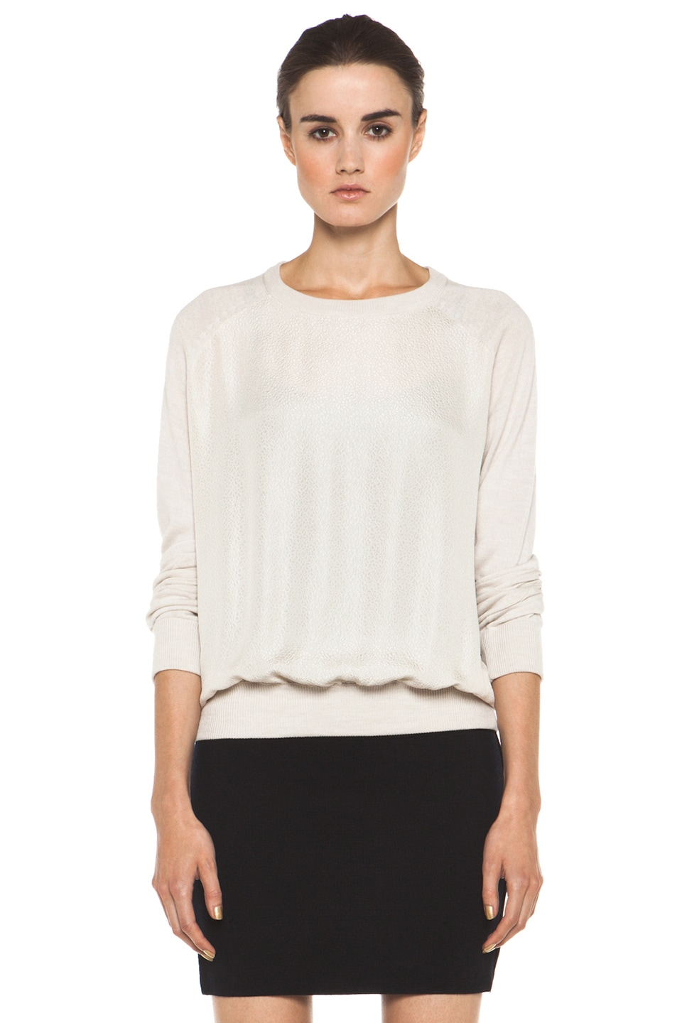 Image 2 of A.P.C. Pull Over Raglan Silk Combo in Ecru